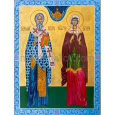 Icon Holy Hieromartyr Cyprian and Holy Martyr Justina
